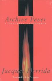 Cover of: Archive Fever: A Freudian Impression (Religion and Postmodernism Series)