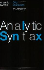 Analytic syntax by Otto Jespersen