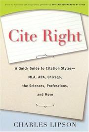 Cite right by Lipson, Charles.