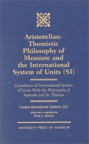 Cover of: Aristotelian-Thomistic philosophy of measure and the international system of units (SI)