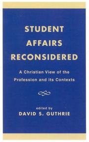 Cover of: Student Affairs Reconsidered | David S. Guthrie