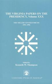 Cover of: The Virginia Papers on the Presidency--Volume XXX