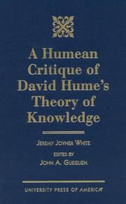 Cover of: A Humean critique of David Hume's theory of knowledge