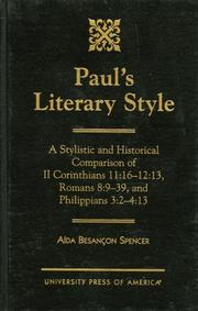 Cover of: Paul's literary style