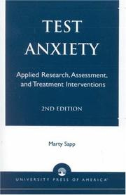 Cover of: Test anxiety: applied research, assessment, and treatment interventions