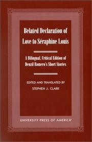Cover of: Belated Declaration of Love to S¿raphine Louis | Clark Stephen J.