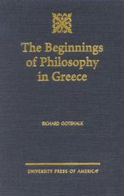 Cover of: The Beginnings of Philosophy in Greece | Richard Gotshalk