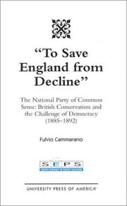 Cover of: To save England from decline