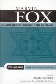 Cover of: Collected Essays on Philosophy and on Judaism | Fox Marvin