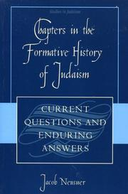 Cover of: Chapters in the Formative History of Judaism | Jacob Neusner