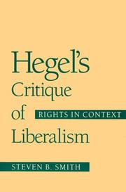 Cover of: Hegel's Critique of Liberalism