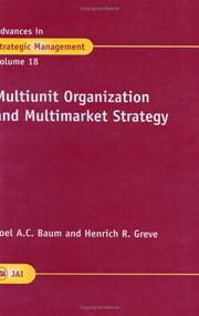 Cover of: Multiunit Organization and Multimarket Strategy (Advances in Strategic Management) |