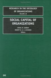 Cover of: Social Capital of Organizations (Research in the Sociology of Organizations) |