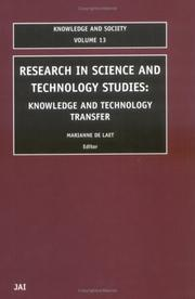 Cover of: Research in Science and Technology Studies (Knowledge and Society) | Marianne de Laet