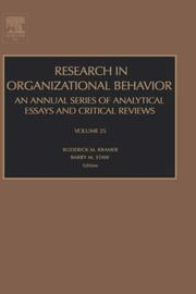 Cover of: Research in organizational behavior. Volume 25 by