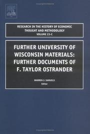 Further University of Wisconsin Material and Further Documents of F. Taylor Ostrander, Volume 23C (Research in the History of Economic Thought and Methodology)