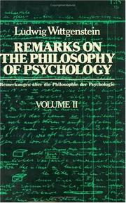 Cover of: Remarks on the philosophy of psychology