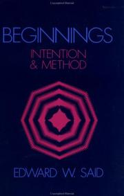 Cover of: Beginnings: intention and method