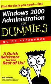 Cover of: Windows 2000 Administration for Dummies