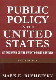 Cover of: Public Policy in the United States: At the Dawn of the Twenty-First Century
