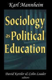 Cover of: Sociology as Political Education