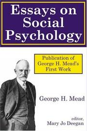Cover of: Essays on Social Psychology | George Mead