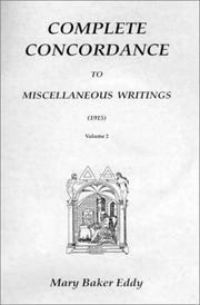 Cover of: Complete Concordance to Miscellaneous Writings (1915)