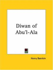 Cover of: The Diwan of Abu'l-Ala
