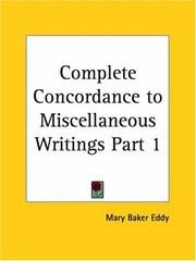 Cover of: Complete Concordance to Miscellaneous Writings, Part 1