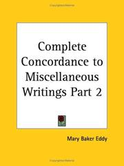 Cover of: Complete Concordance to Miscellaneous Writings, Part 2