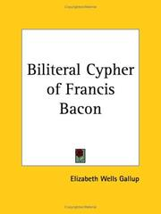Cover of: Biliteral Cypher of Francis Bacon