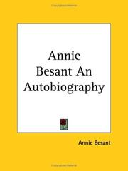 Cover of: Annie Besant, an Autobiography
