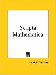 Cover of: Scripta Mathematica by Jekuthiel Ginsburg