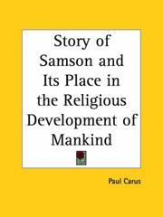 Cover of: The story of Samson and its place in the religious development of mankind