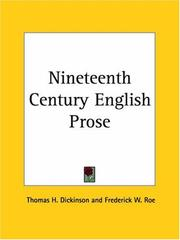 Cover of: Nineteenth Century English Prose |