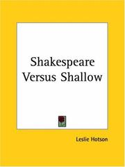 Cover of: Shakespeare versus Shallow
