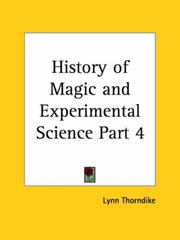 Cover of: History of Magic and Experimental Science, Part 1