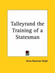 Cover of: Talleyrand; the training of a statesman,