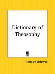 Cover of: Dictionary of Theosophy | Theodore Besterman