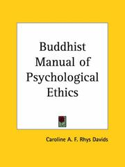 Cover of: Buddhist Manual of Psychological Ethics