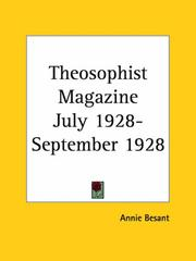 Cover of: Theosophist Magazine July 1928-September 1928 | Annie Wood Besant