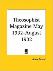 Cover of: Theosophist Magazine May 1932-August 1932 | Annie Wood Besant