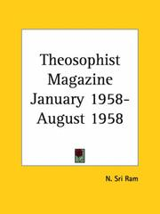 Cover of: Theosophist Magazine January 1958-August 1958