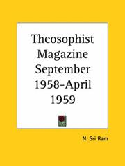 Cover of: Theosophist Magazine September 1958-April 1959