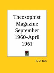 Cover of: Theosophist Magazine September 1960-April 1961