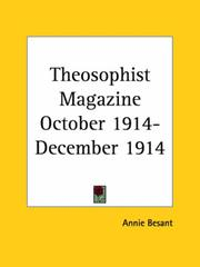 Cover of: Theosophist Magazine October 1914-December 1914 | Annie Wood Besant