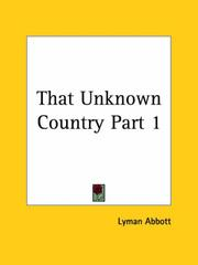 Cover of: That Unknown Country, Part 1