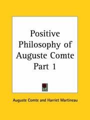 Cover of: Positive Philosophy of Auguste Comte, Part 1