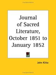 Cover of: Journal of Sacred Literature, October 1851 to January 1852