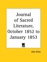 Cover of: Journal of Sacred Literature, October 1852 to January 1853